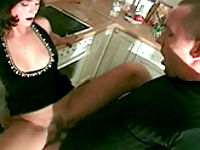 Mature bitch getting her rear plumbing checked in the kitchen