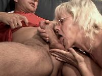 Granny does blowjob n jumps on dick