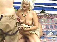 Old lady fucked by guys in groupsex