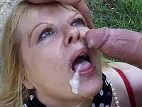 Old slut gets double load in forest